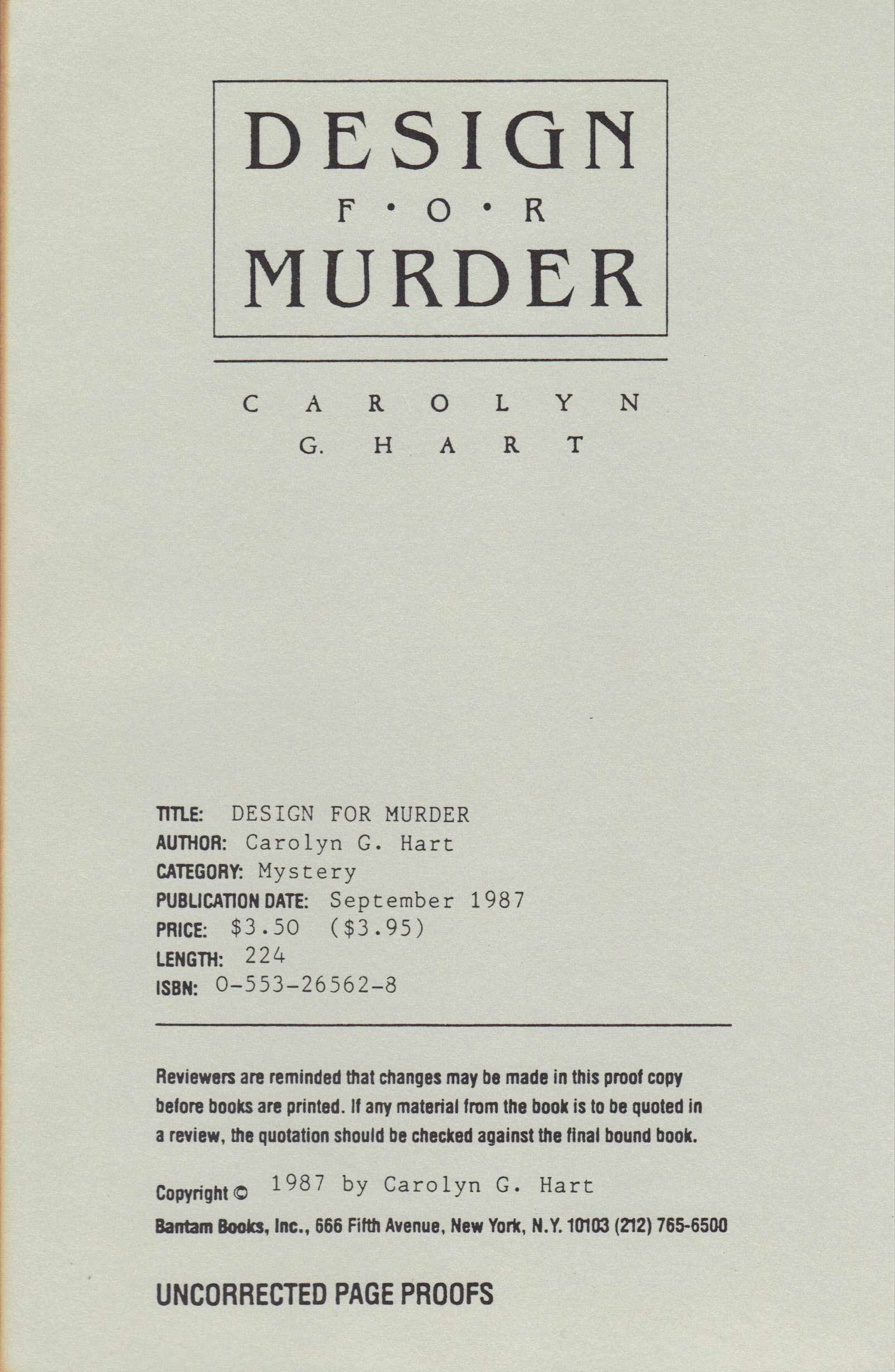 Image for DESIGN FOR MURDER