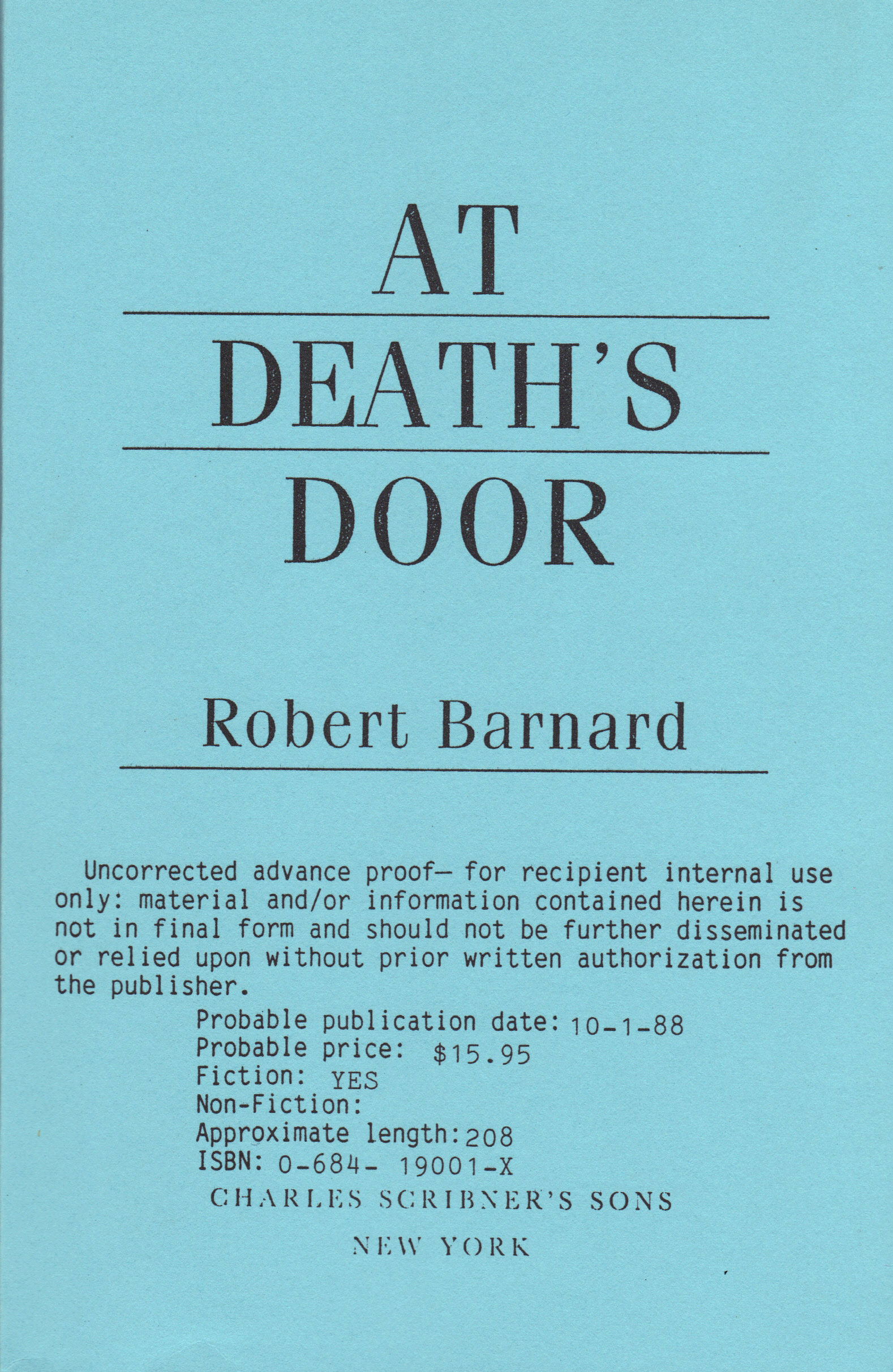 Image for AT DEATH'S DOOR
