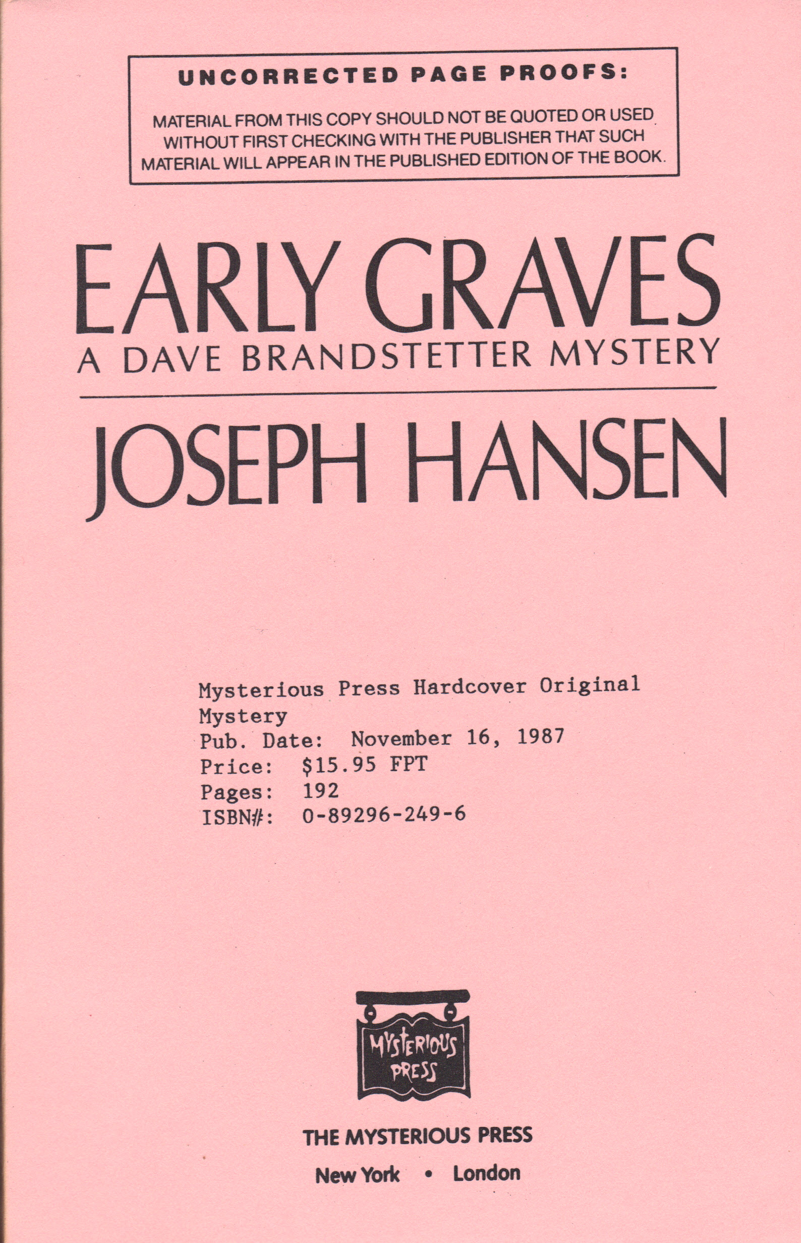 Image for EARLY GRAVES