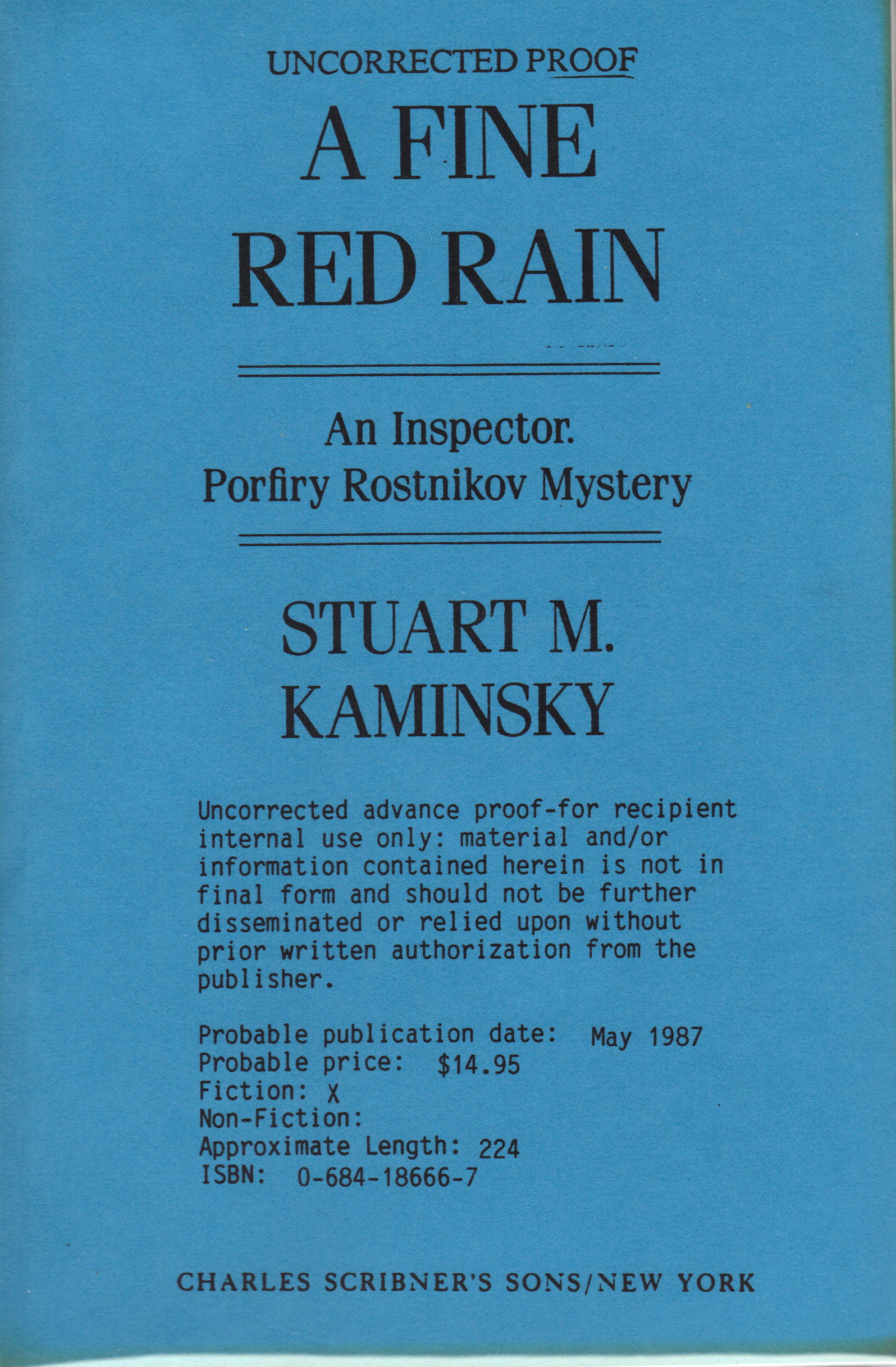 Image for FINE RED RAIN