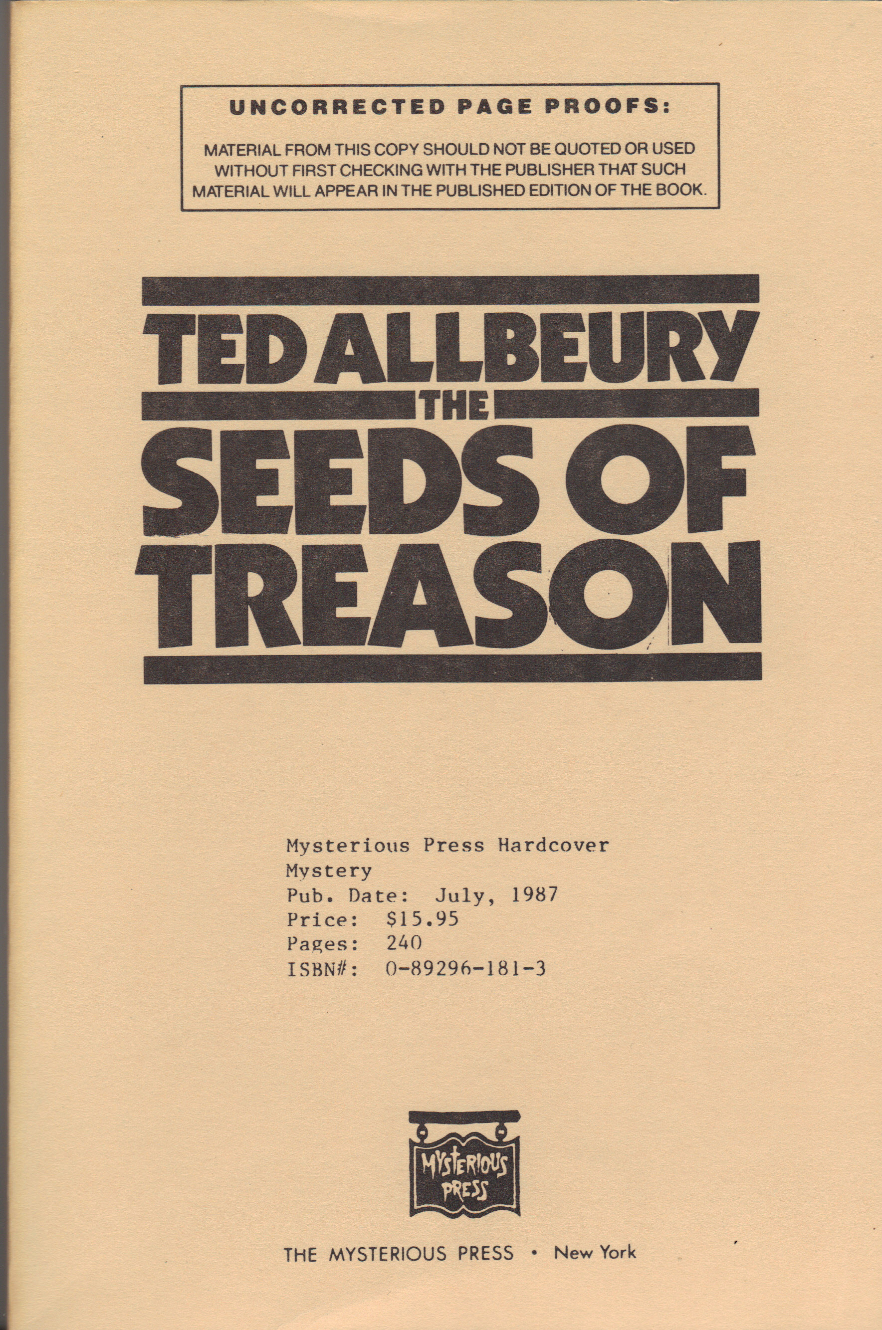 Image for SEEDS OF TREASON