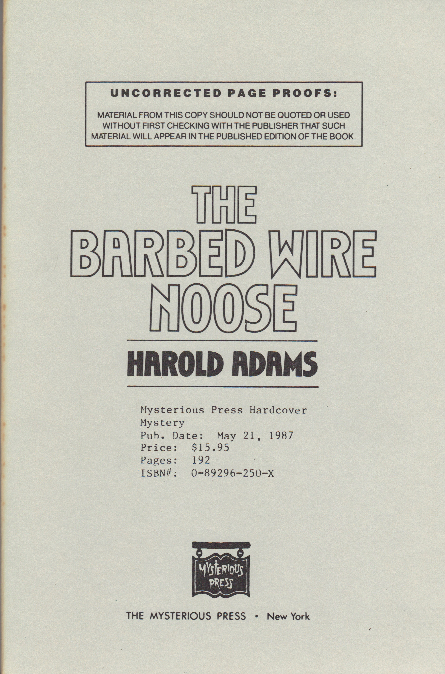 Image for BARBED WIRE NOOSE