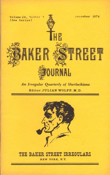 Image for THE BAKER STREET JOURNAL ~ An Irregular Quarterly of Sherlockiana ~ December 1974